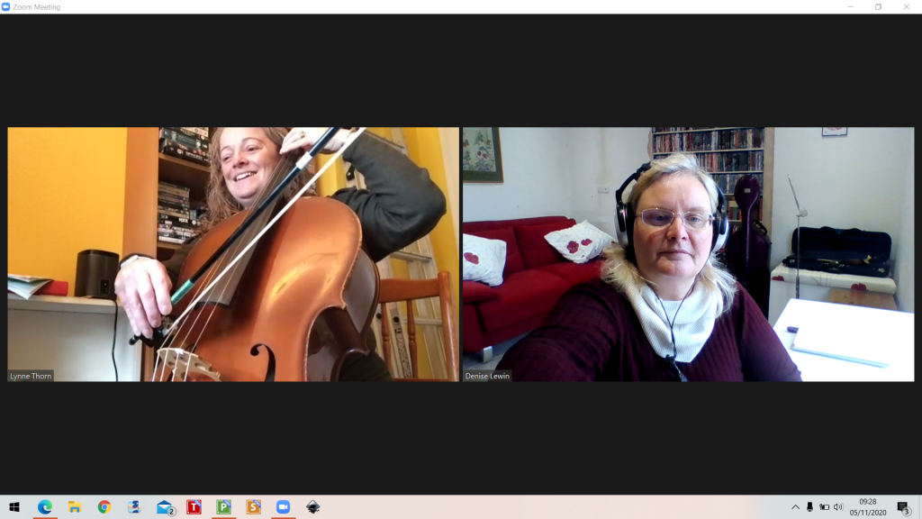 Screenshot of an online cello lesson